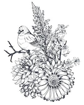 Blumenkomposition. blumenstrauß mit handgezeichneten blumen, pflanzen und vögeln.