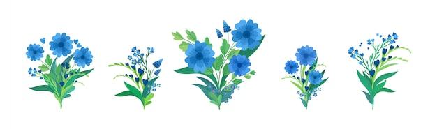 Blumenkompositionen flache illustrationen gesetzt. blaue blumensträuße isolierten dekorationen