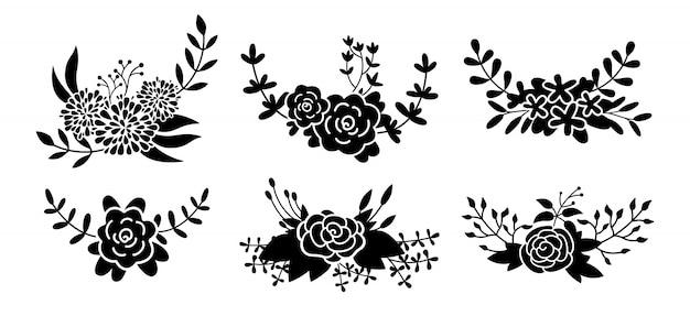 Blumenkompositionsset, blumenzweig schwarze glyphe. schöne blumenmusterelemente der abstrakten silhouette. cartoon öko-sammlung. gravuren isolierte blumen. illustration