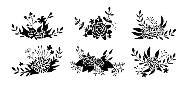 Blumenkompositionsset, blumenzweig schwarze glyphe. schöne blumenmusterelemente der abstrakten silhouette. flache cartoon-sammlung. gravuren isolierte blumen. illustration