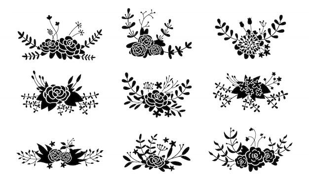Blumenkompositionsset, blumenzweig schwarzes symbol. schöne blumenmusterelemente der abstrakten hochzeit. bunte flache karikaturgarten-öko-sammlung. gravuren isolierte blumen. illustration