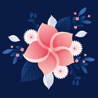 Blumenkonzept des 2d-farbverlaufspapierstils