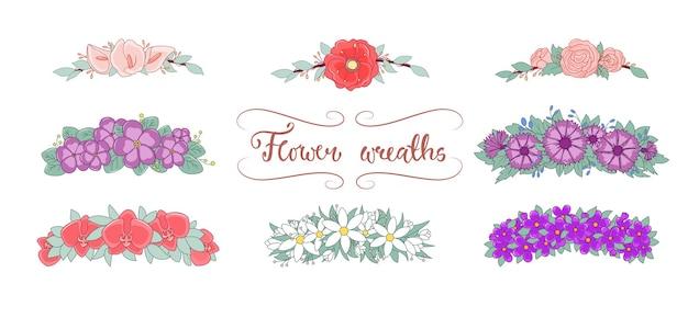 Blumenkränze eingestellt. frühlingsblumen-kranz-set. bunte hochzeitsvektorillustrationen.