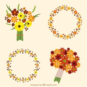 Blumenkränze und blumensträuße in minimalistischem stil