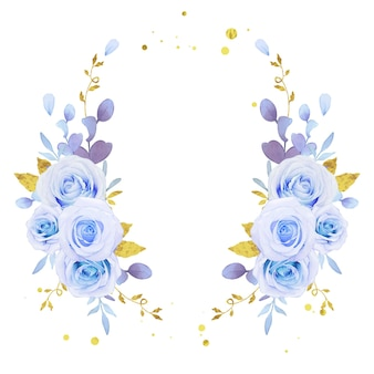 Blumenkranz aus aquarellblauen rosen