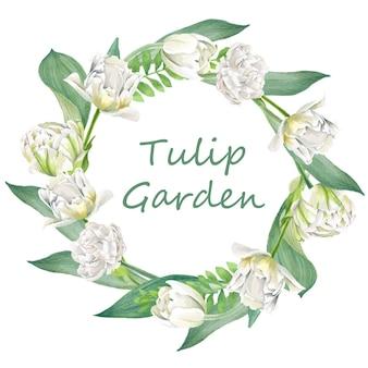 Blumenkranz aus tulpen und blättern