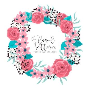 Blumenkranz, der rosa rosenrahmen mit blumen zeichnet