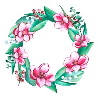 Blumenkranz im aquarell-stil