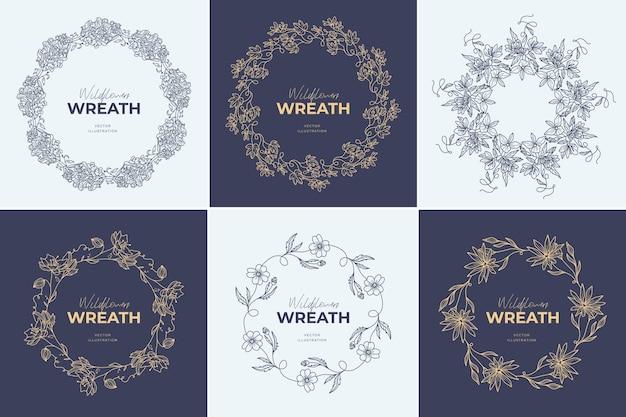 Blumenkranz-logo-vorlagen gesetzt