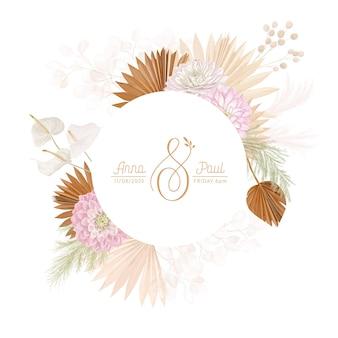 Blumenkranz mit aquarelltrockenen daliablumen, pampasgras, tropischer palme. vektorsommerweinlese-orchideenblumenfahnenillustration. moderne einladung zur hochzeit, trendige grußkarte, luxusdesign