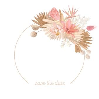 Blumenkranz mit aquarelltrockenen pastellblumen, pampasgras, tropischer palme. vektorsommerweinlese-orchideenblumenfahnenillustration. moderne einladung zur hochzeit, trendige grußkarte, luxusdesign