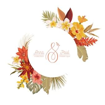 Blumenkranz mit aquarelltrockenen tropischen blumen, tropischen palmblättern. vektorsommerweinlese-orchideenblumenfahnenillustration. moderne einladung zur hochzeit, trendige grußkarte, luxusdesign