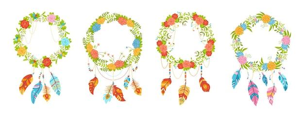 Blumenkranz mit federn, cartoon-set im boho-stil. bunte blumen, traumfänger talisman