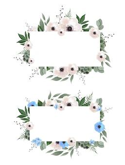 Blumenkranz mit grünen eukalyptusblättern, blumenrose, anemone