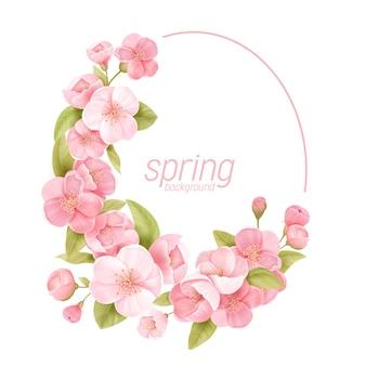 Blumenkranz mit realistischen kirschblüten, exotischer sakura-blüte. vektorfrühlingsfahnenschablonenillustration. moderne hochzeitseinladung, trendige grußkarte, luxusdesign, gutschein, broschüre, flyer