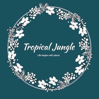 Blumenkranz mit tropischem illustrations-romantischen rahmen der linienkunst