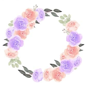 Blumenkranzkreisrahmen mit aquarellrosenblume