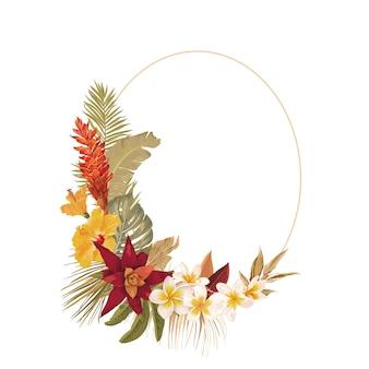 Blumenkranzrahmen mit aquarelltrockenen tropischen blumen, tropischen palmblättern. vektorsommerweinlese-orchideenblumenfahnenillustration. moderne einladung zur hochzeit, trendige grußkarte, luxusdesign
