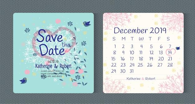 Blumenkunst-typografie hochzeitseinladung retten die datumskarte