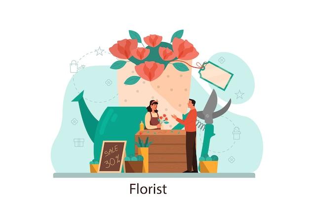 Blumenladen- und floristenkonzept. frauenflorist, der blumenstrauß für kunden macht. kreative beschäftigung in der blumenboutique. floristisches geschäft.