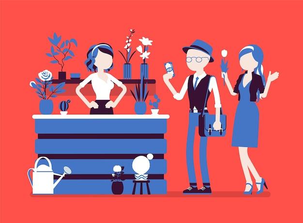 Blumenladendame verkauft, arrangiert schnittblumen für kunden. blumenboutique-design, mädchen-merchandising, zeigt pflanzen in einem geschäft, erfolgreiches kleinunternehmen. vektorillustration, gesichtslose charaktere