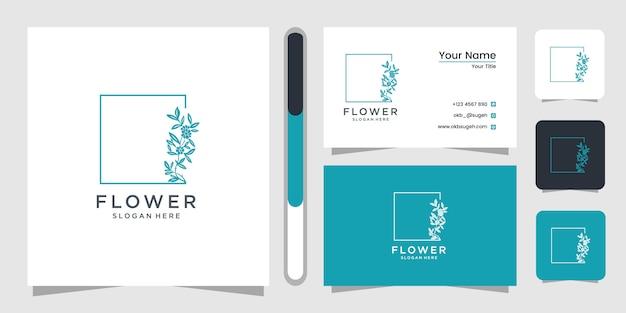 Blumenlinienkunst-logo-designschablone