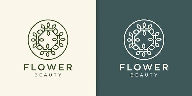 Blumenlinienkunst-logoentwurf, verzierungsart