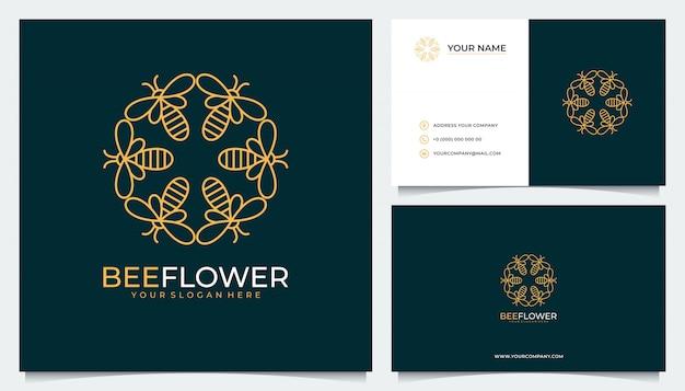 Blumenlogo-design mit einer kombination aus bienen und visitenkarten