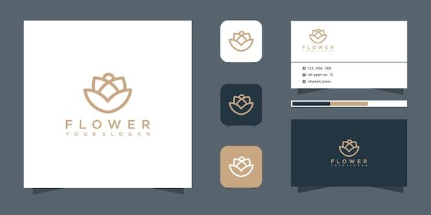 Blumenlogo-design und visitenkarte.