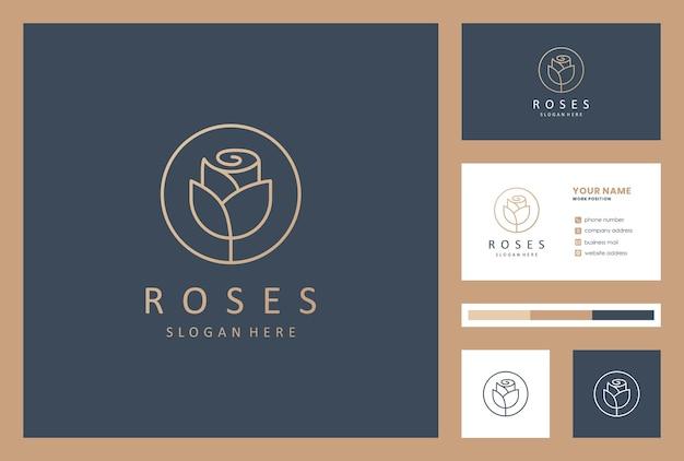 Blumenlogo-designinspiration mit visitenkarte