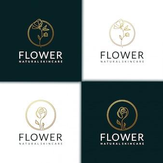 Blumenlogo-designschablone, schönheit, gesundheit, spa, yoga mit strichgrafikstil