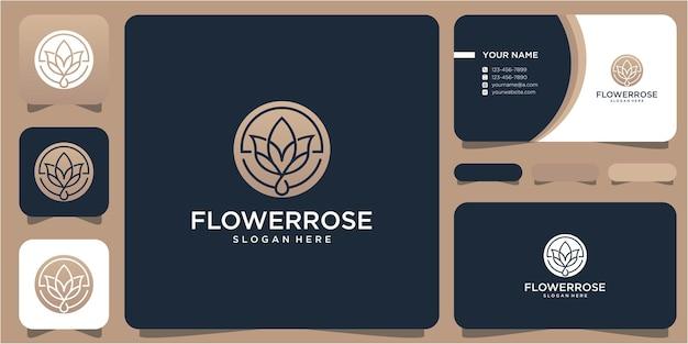 Blumenlogo-designvorlage mit strichzeichnungskonzept und visitenkarte