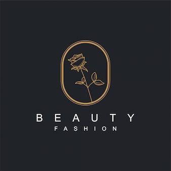 Blumenlogo mit gold für schönheits- oder badekurortprodukte und anderen bedarf