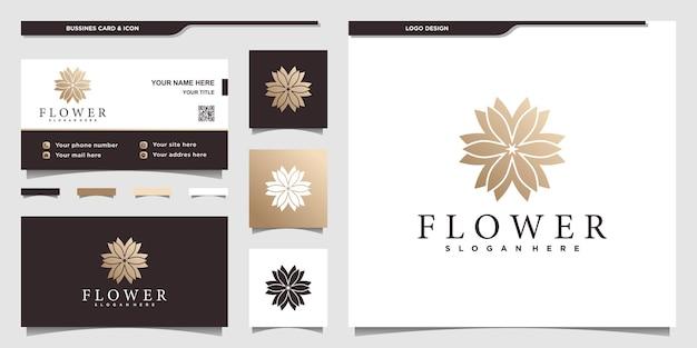Blumenlogo mit goldenem farbverlauf und visitenkarten-design-vorlage. schönheit, mode, salon, spa, symbol, premium-vektor