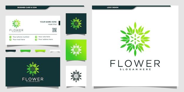 Blumenlogo mit grenn farbverlauf und visitenkartendesign premium-vektor