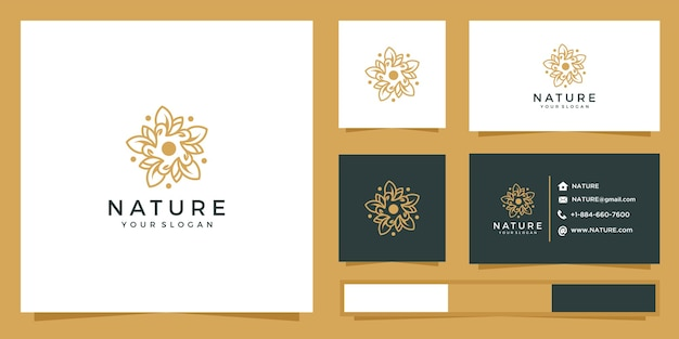 Blumenlogo mit linienstil. logo und visitenkarten