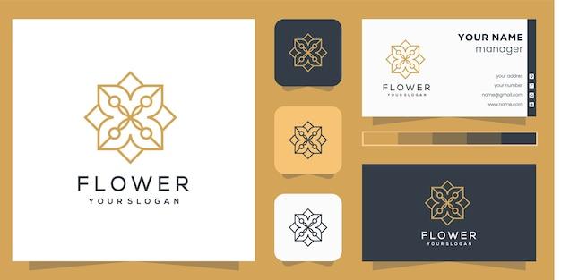 Blumenlogo mit strichgrafikart und visitenkarte