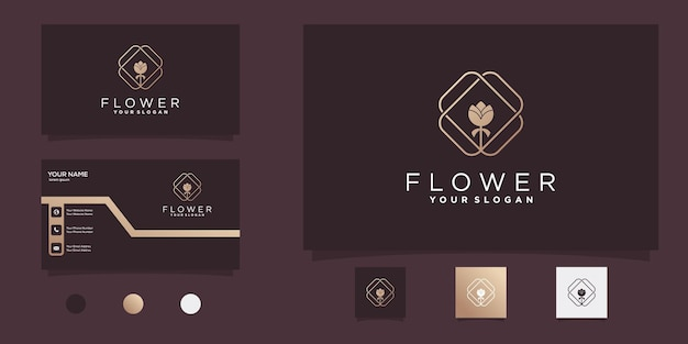Blumenlogo mit strichzeichnungen im modernen stil und visitenkartendesign premium vekto
