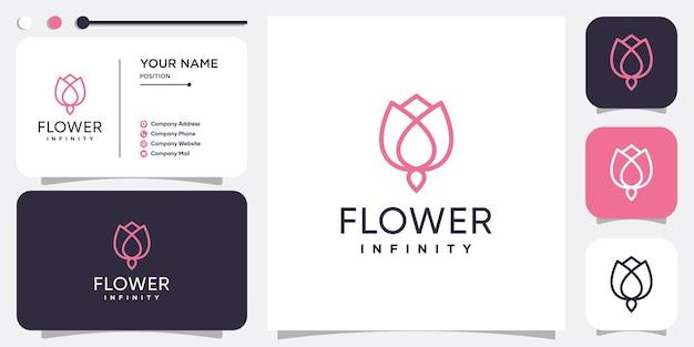 Blumenlogo mit unendlichkeitslinienkonzept premium-vektor