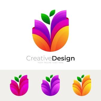 Blumenlogo und bunte designillustration, bunter stil