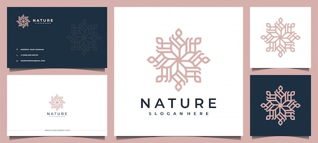 Blumenlogodesign mit eleganter visitenkarte