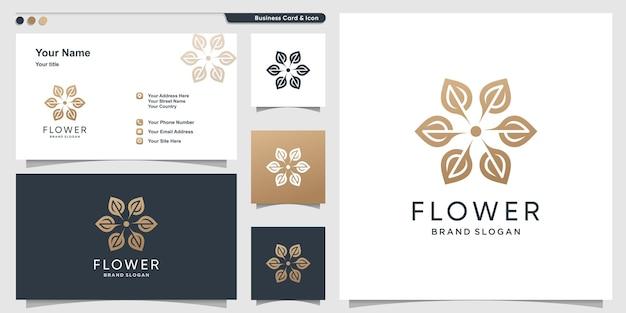 Blumenlogodesign mit modernem stil und visitenkartendesign premium-vektor