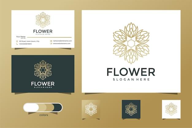 Blumenlogodesign mit strichgrafikstil. logo und visitenkarte