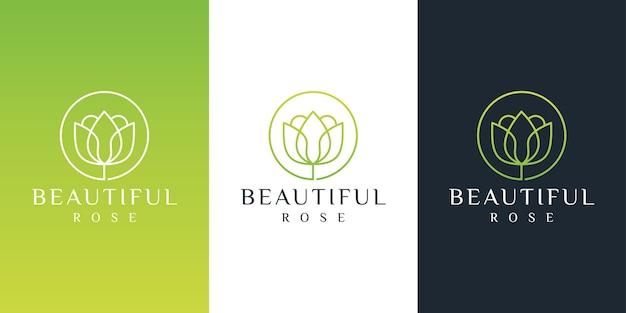 Blumenlogodesign mit strichgrafikstil.