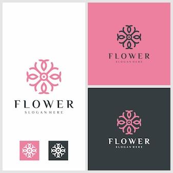 Blumenlogodesign mit strichzeichnungen. schönheit, mode, salon premium