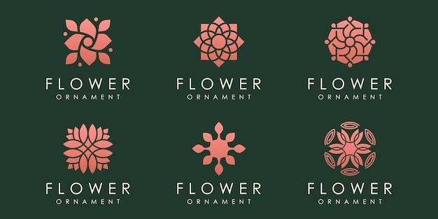 Blumenlogoikonensatznaturdesignschablonenvektor