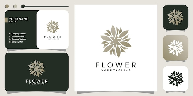 Blumenlogokonzept mit modernem kreativem stil premium-vektor