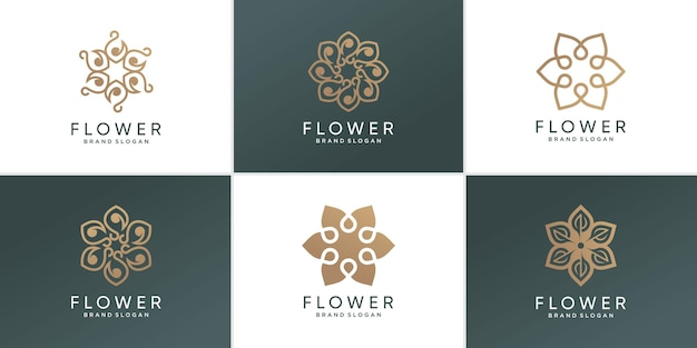 Blumenlogosammlung mit kreativem abstraktem konzept premium-vektor