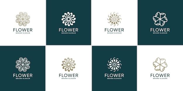 Blumenlogosammlung mit kreativem einzigartigem konzept premium-vektor