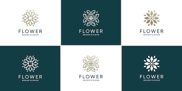 Blumenlogosammlung mit kreativem stilkonzept premium-vektor